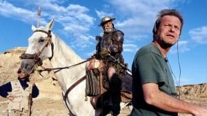 Terry Gilliam et Jean Rochefort sur le tournage de  L'Homme qui a tué Don Quichotte