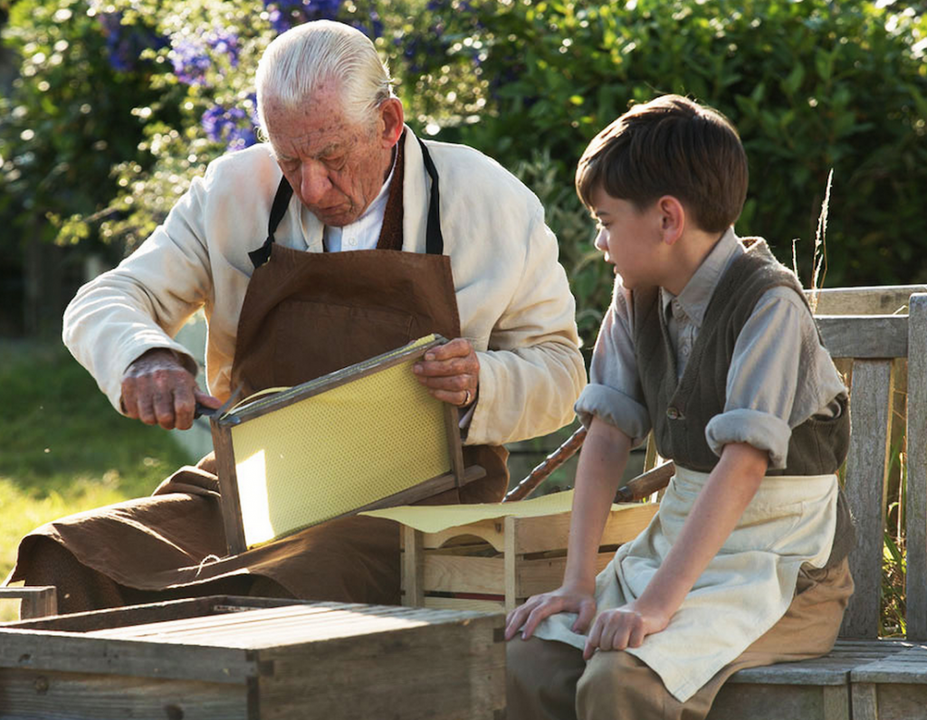 mr holmes and roger with bee hives